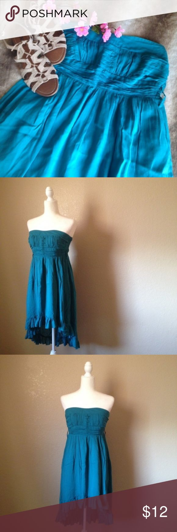 "Strapless Boho High Low Ruffled Hem Dress Super cute and lightweight, perfect summer dress! Beautiful teal color, features strapless high low empire silhouette, elastic band on back, ruched bust, belt loops, slightly pleated skirt and ruffled bottom hems. Gently used, size S. Approximately 34"" bust, 27"" front length and 39"" back length. Kariss Dresses High Low"