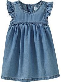 Flutter-Sleeve Chambray Dresses for Baby
