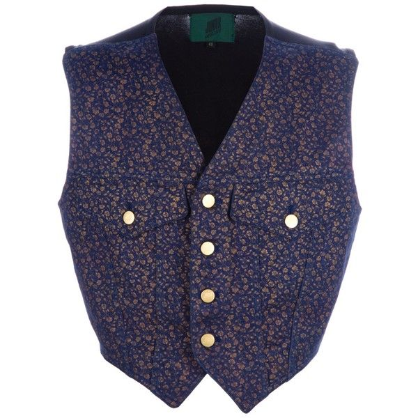 JEAN PAUL GAULTIER VINTAGE denim waistcoat ($215) ❤ liked on Polyvore featuring men's fashion, men's clothing, men's outerwear, men's vests, jackets, mens denim vest and mens vintage vest