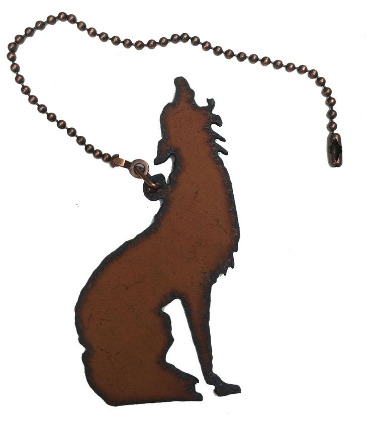 """Coyote Southwestern Home Decor Rustic Metal Coyote Ceiling Fan Pull Light Southwestern Coyote Rustic Metal Fan Pull 4 1/4"""" x 3 """" 7"""" Chain Made in USA Cowgirl Oasis © your corner store for all your Cow"""