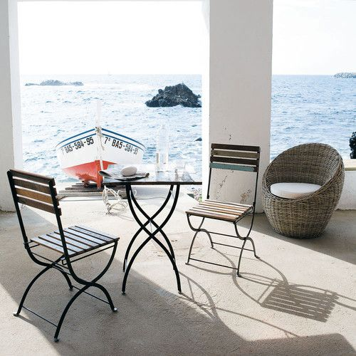 Gartentisch + 2 Stühle aus Recyclingholz und Metall in Antikoptik, B 60cm Collioure