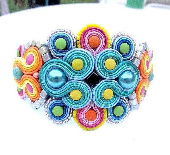 Chunky Soutache Bracelet Colorful Bracelet Cuff by IncrediblesTN, $89.00