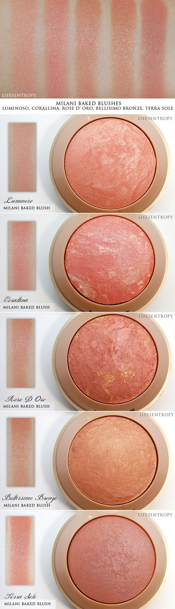 WANT IT :: SWATCHES :: Milani Baked Blush...I want Luminoso (compared to NARS Orgasm), Rose D'Oro (compared to MAC MSF Stereo Rose), Coralina (a pinky coral w/ silver glitter), Belissimo Bronze (shimmery peachy gold). Terra Sole is a matte deep rosy pink. | #lifesentropy