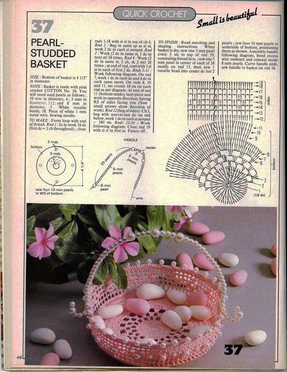 koszyczek na szydełku, koszyczki, 40 wzorów i schematów - szydełkowe koszyczki , schematy szydełkowe, szydełkowe, patterns