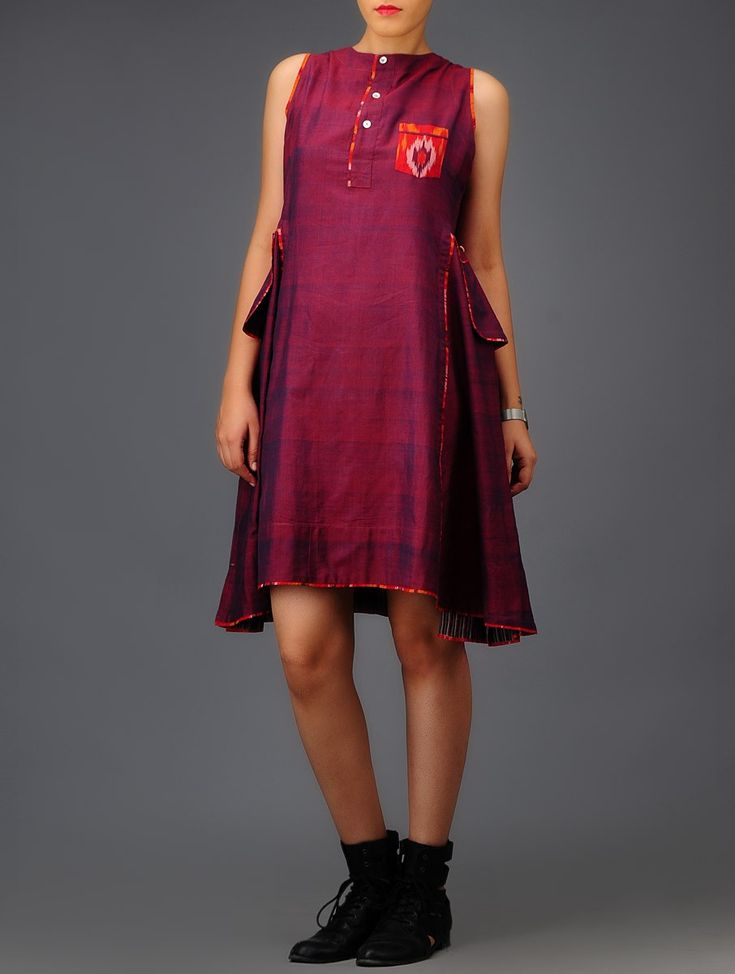 Buy Purple Ikat Cotton Dress Online at Jaypore.com