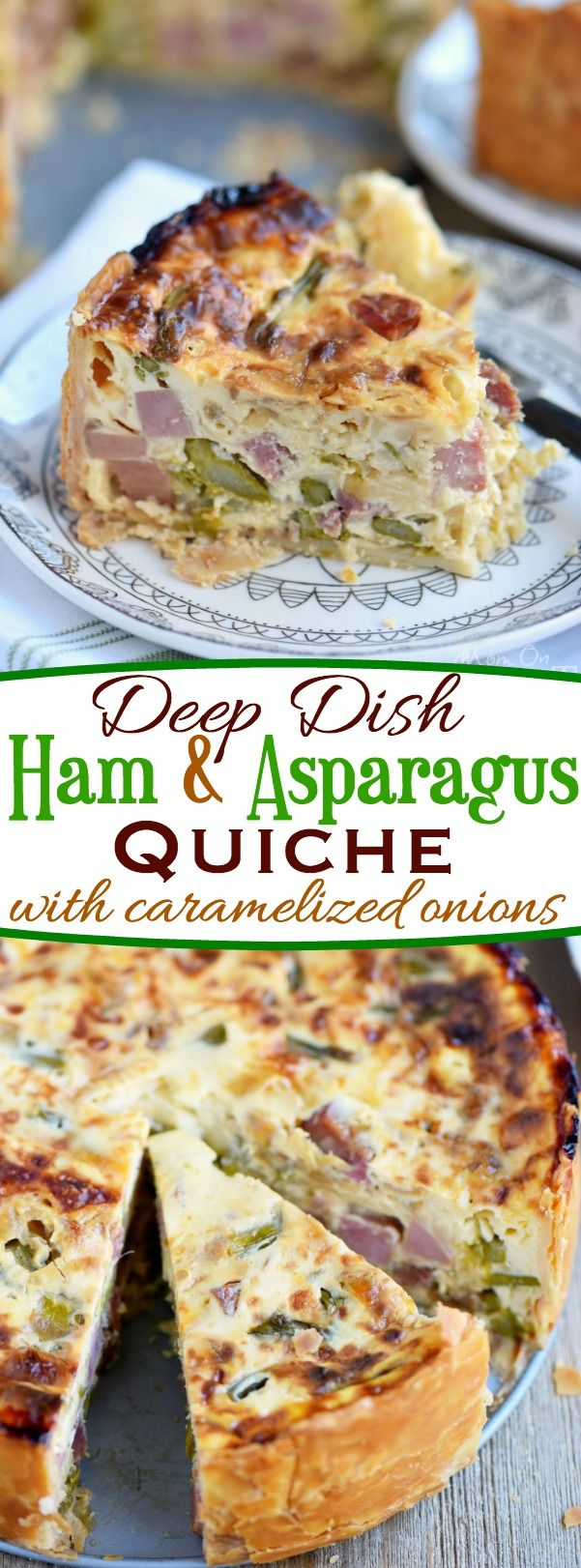 This Deep Dish Ham and Asparagus Quiche with caramelized onions is the perfect addition to your holiday brunch menu! Make it the day before and serve cold or room temperature - both ways are delicious! Also makes a hearty dinner! // Mom On Timeout: