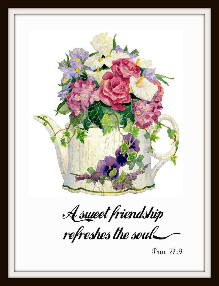 "Vintage Scripture Art Print ""A Sweet Friendship"", Wall Decor, 8 x 10"" Unframed Printed Art Image, Scripture Print, Motivational Quote"