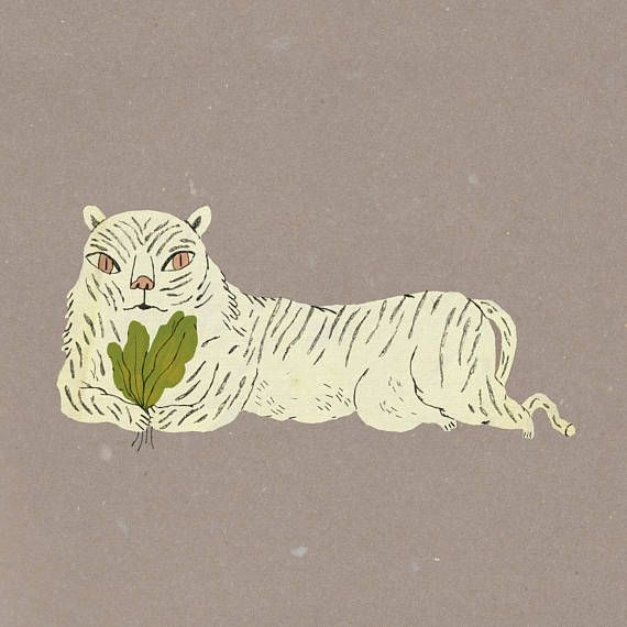 Tiger Art Print A4 size White Green Design Children Gift Wall Hanging Kids Room Decor Animal Spinach Drawing Cute Nursery Funny Jungle Etsy by Judit Orosz