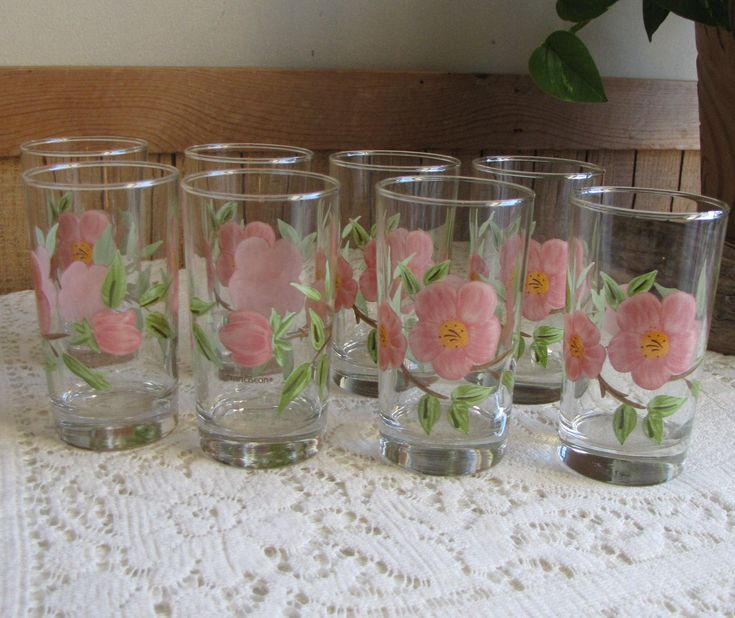 Franciscan Desert Rose Juice Glasses With Brown Stems Vintage Dinnerware and Replacements Set of Eight (8) Drink and Barware