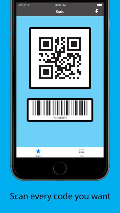 Kode on App Store:   This app just works. It can read: - QR code - Code 128 - GS1-128 - 39 code - 39Mod43 code - 93 code - PDF417 - Azte...  Developer: Marco Tini  Download at http://ift.tt/1MpzAkB