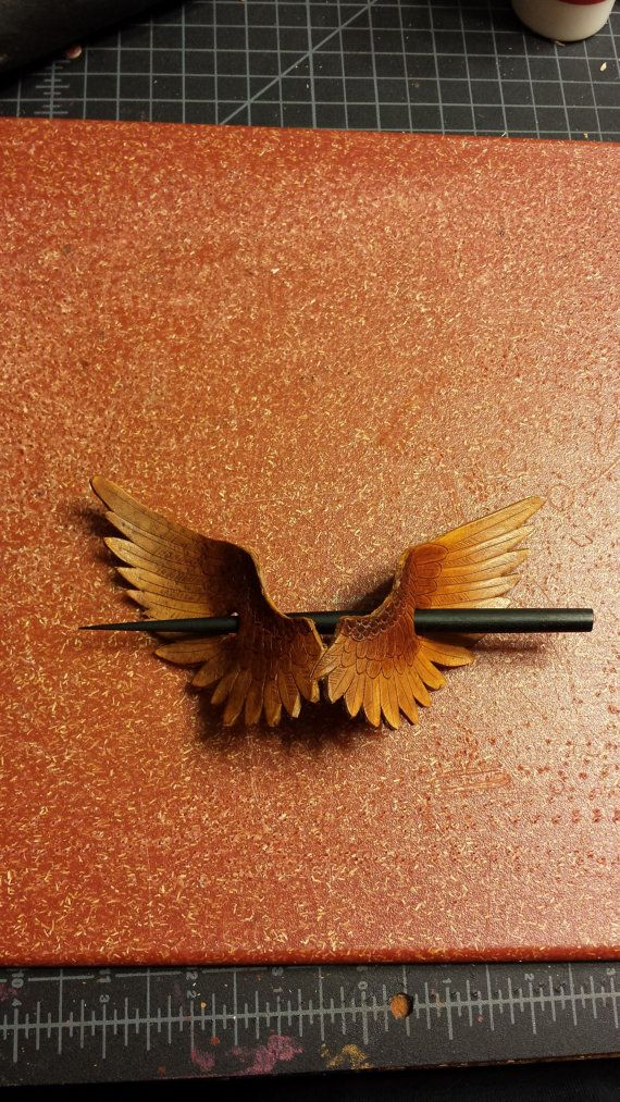 Wings Leather Hair Ornament/Shawl Pin with by BoondockStudios, $40.00