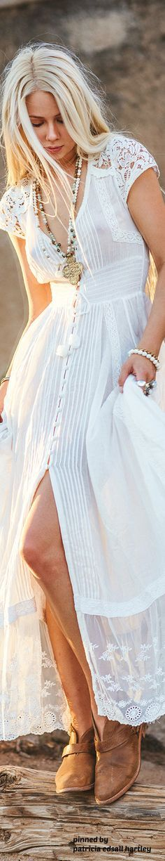 boho white long dress @roressclothes closet ideas #women fashion outfit #clothing style apparel