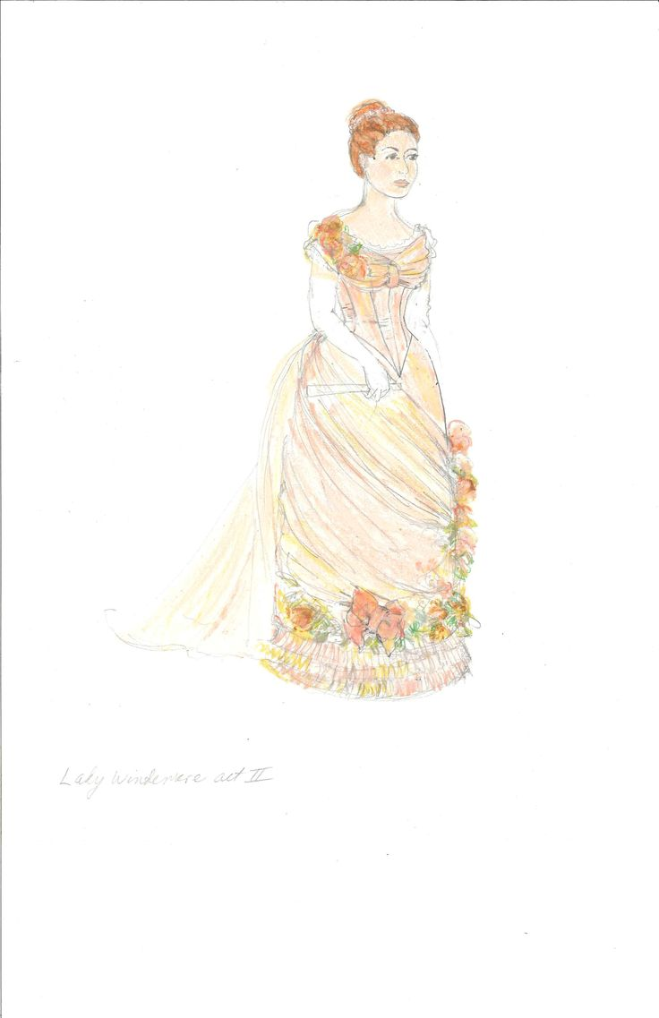 Meg Neville's costume sketch of Lady Windermere, Act 2