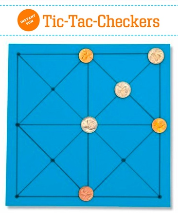 Picaria, a play-anywhere, Native American game. (1) Draw gameboard as shown and give each player 3 identical markers (2) Players take turns placing their markers on intersections of the board, but not the center one (3) When all 6 are placed, players take turns moving markers one space at a time, no jumping allowed. Winner is the first to get 3 in a row.