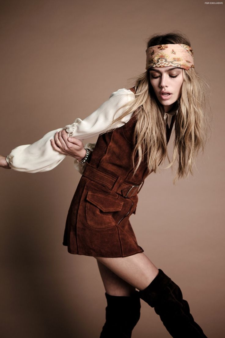 (This Image & Next) 60s Leather Mini Dress, Boots & Head Scarf available at Stoned Immaculate Vintage, Stylist's own Blouse