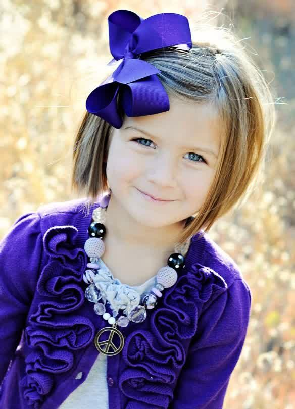 20 Simple Short Haircut For Active Children 2014 : Trend Short Haircut For Children With Clips Ribbon