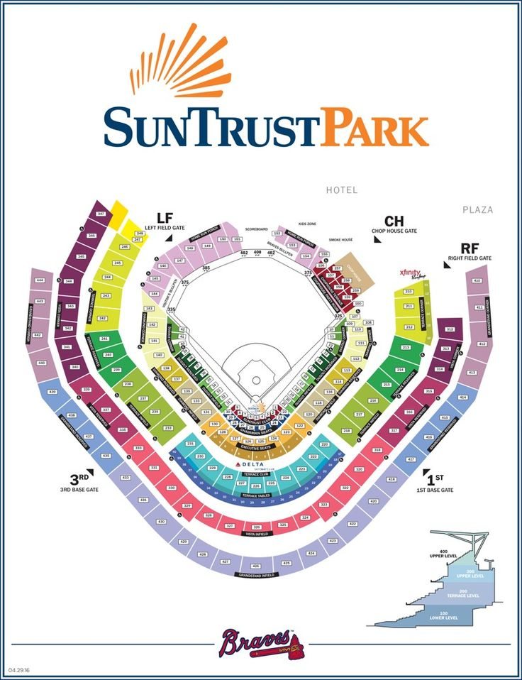 Map of SunTrust Park seating chart and gate entrances. The new Atlanta Braves stadium in Cobb County will host concerts and baseball games.