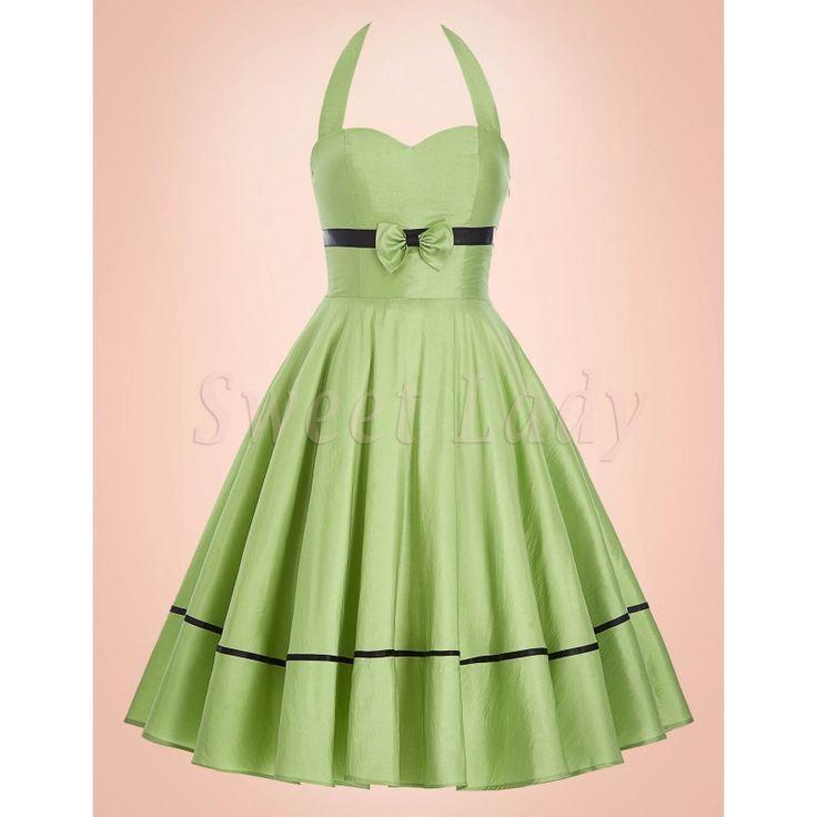 Šaty okolo krku zelenej farby z 50. rokov