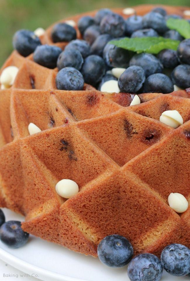 white chocolate and blueberry bundtcake