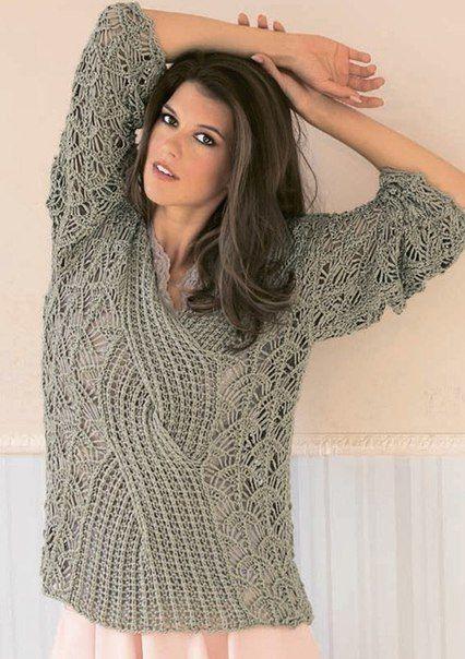 Кружевной пуловер с центральной косой