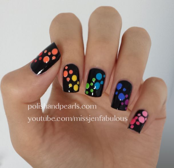 rainbow dotticure for more nail art ideas visit www.sparkofallure.com