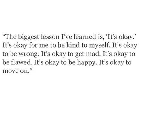 It's okay to move on