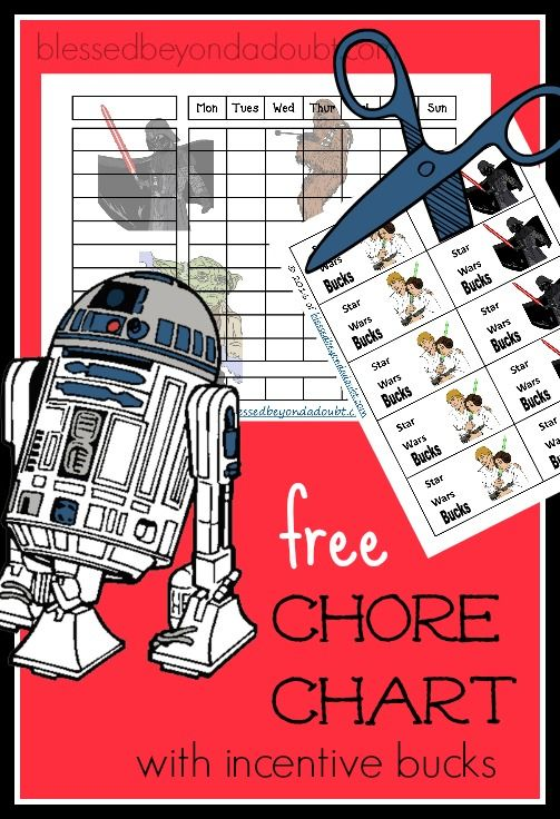The perfect Star Wars Chore Chart with incentive cheerful attitude bucks! It's FREE!