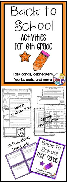Great 39 page set of Back to School Activities for 6th Grade including worksheets, task cards, games, a writing activity, math activities and more to keep your students busy learning the first week. Gives you as a 6th Grade Teacher, a simple way to get to know the kids, while allowing them to get to know one another, and helping them make the transition to a new classroom. This is a go to set you'll use year after year! (TpT Resource)
