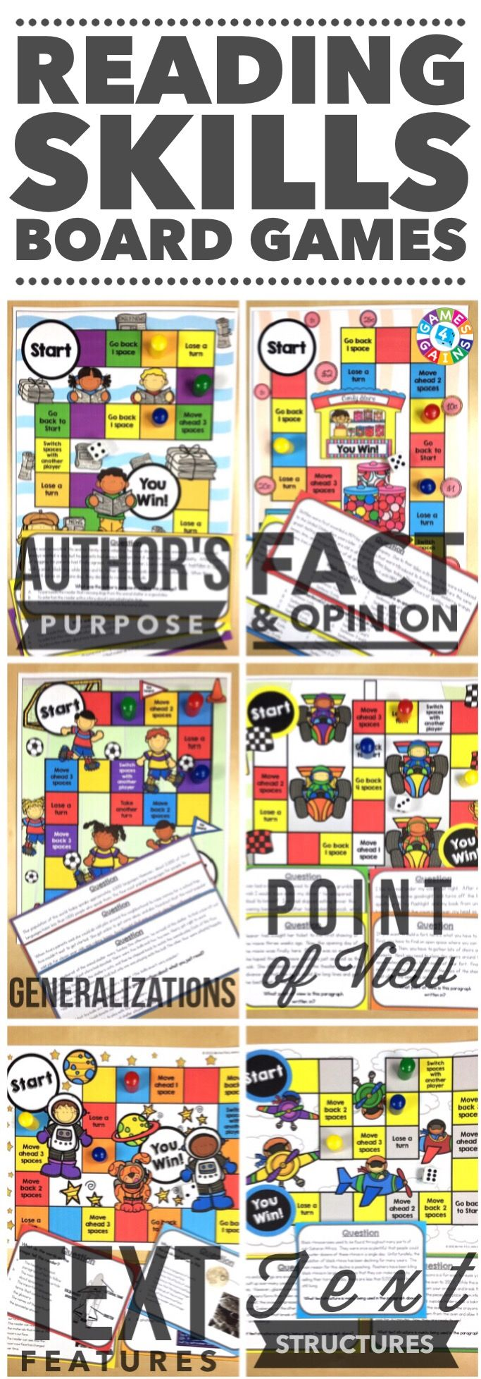 """My students ask to play these everyday!"" Students will love to practice author's purpose, fact & opinion, generalizations, point of view, text features, and text structure with these engaging reading board games. Each game comes with a game board and 25+ game cards to help student practice these skills in a fun and exciting way!"