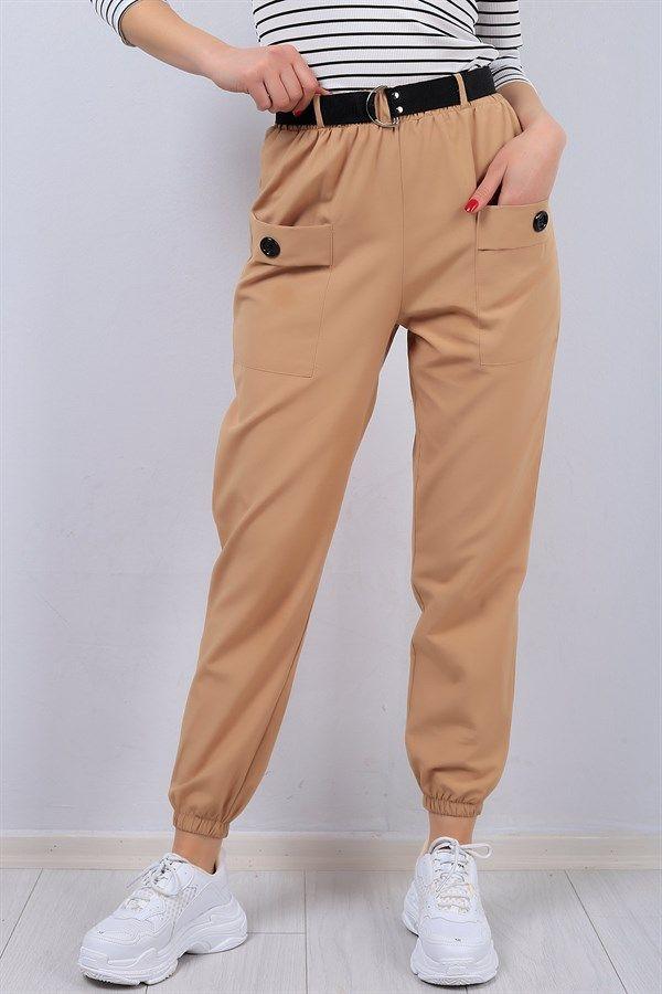 23 95 Tl Krem Cep Detay Kemerli Bayan Pantolon 13160b Modamizbir Pantolon Stil Kiyafetler Tarz Moda