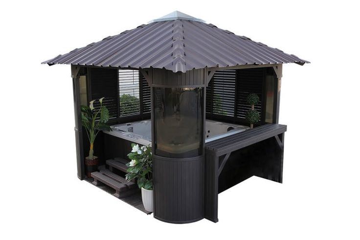 This piece combines both hot tub and gazebo together. The covered gazebo is perfect in all kinds of weather and includes shades for privacy as well.