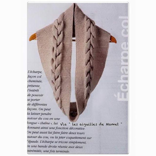 lo spazio di lilla: Sciarpa infinity ai ferri con treccia centrale, schema e spiegazioni in italiano