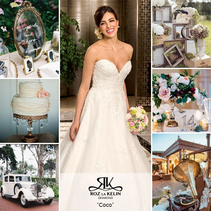 'Coco' l Roz la Kelin Diamond Collection  Timeless wedding with vintage accents  Strapless wedding gown, vintage, elegant, timeless
