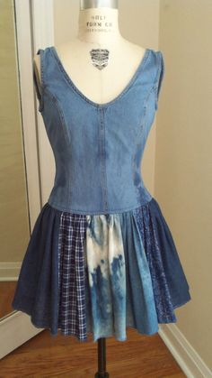 Ballerina denim dress Jeans dress woman dress junior sun dress hand made up cycled casual dress jeans jacket jeans skirt gathered skirt