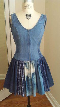Robe ballerine en denim Jeans robe femme robe soleil junior robe peinte à la…