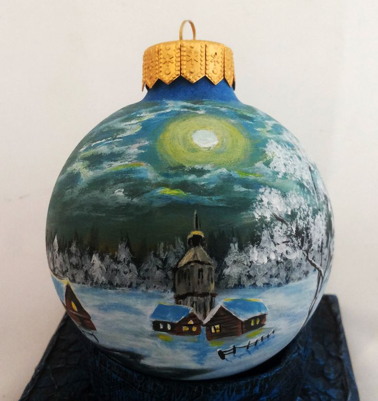 938 best cityscapes churches houses on christmas for Glass christmas ornaments to paint