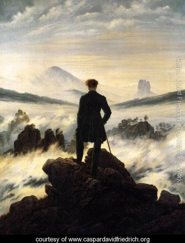 The Wanderer above the Mists 1817-18  Painted by: Caspar David Friedrich