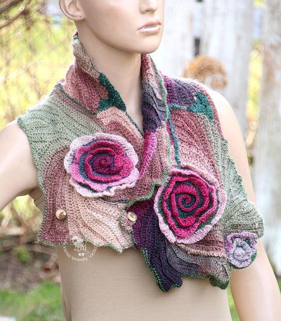 Crochet flower scarf Boho neck warmer Freeform crochet