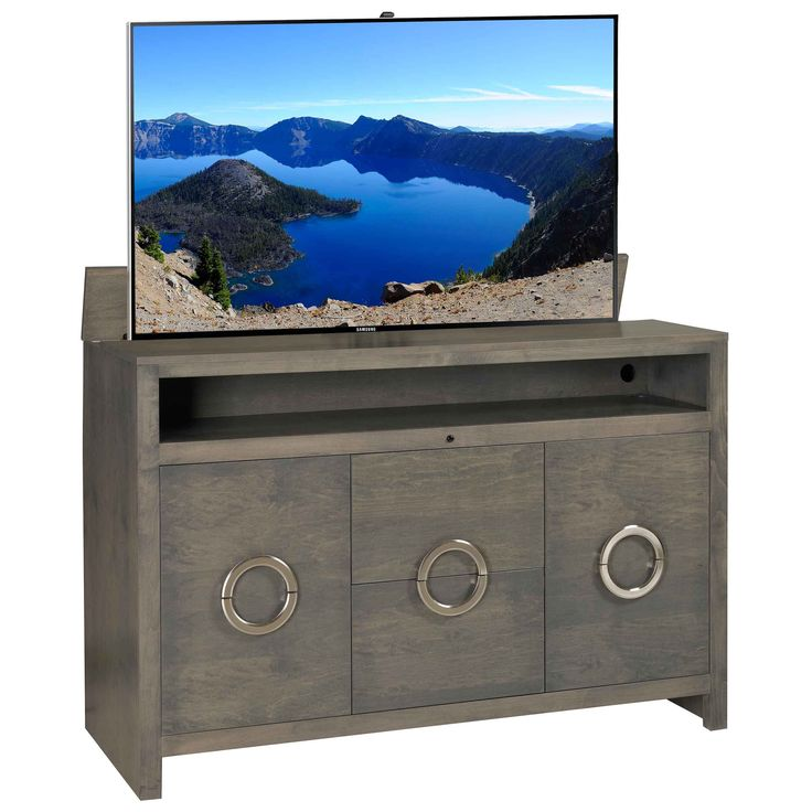 this modern style of the enclave grey tv lift cabinet is perfect for a home