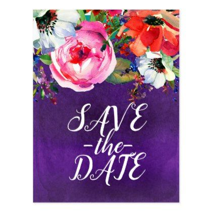 Bright Watercolor Bold Floral Purple Save the Date Postcard - save the date gifts personalize diy cyo
