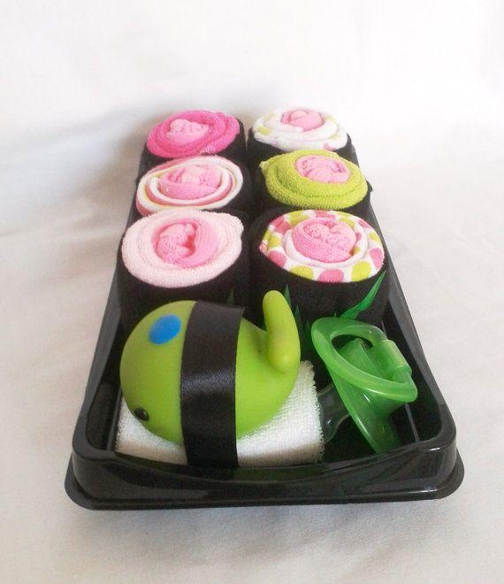 Sushi Combo Washcloth Baby Gift by LilyAndEllie.com, $25.00