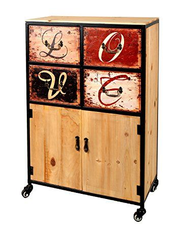 ts-ideen Container estantería cómoda armario de diseño estilo retro shabby LOVE industrial con hierro, ruedas y cajones