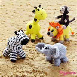 Вязаные животные в Африке: лев, слон, жираф, зебра, обезьяна.Crochet animals in Africa: lion, elephant, giraffe, Zebra, monkey. Amigurumi