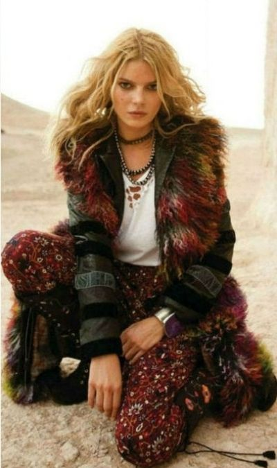 boho gypsy queen... red brown black calico faux fur coat, & oxblood red boho pant and beads