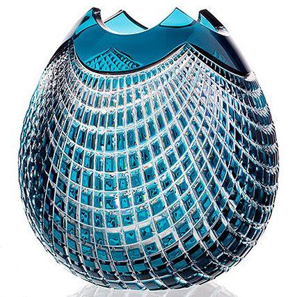 Czech Glass Crystal Vase Azure
