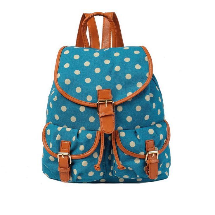 Τσάντα πλάτης γυναικεία Πουά Μεσαίου μεγέθους, JC OGZ25F-Dark Blue