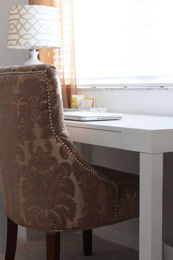 White Lacquer Desk + Damask Chair