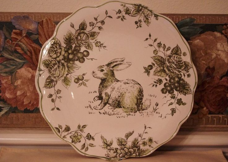 Maxcera Green White Toile Bunny Rabbit Easter Spring Large Round Plate Platter & 20 best Maxcera dinnerware images on Pinterest | Bunny Dinnerware ...
