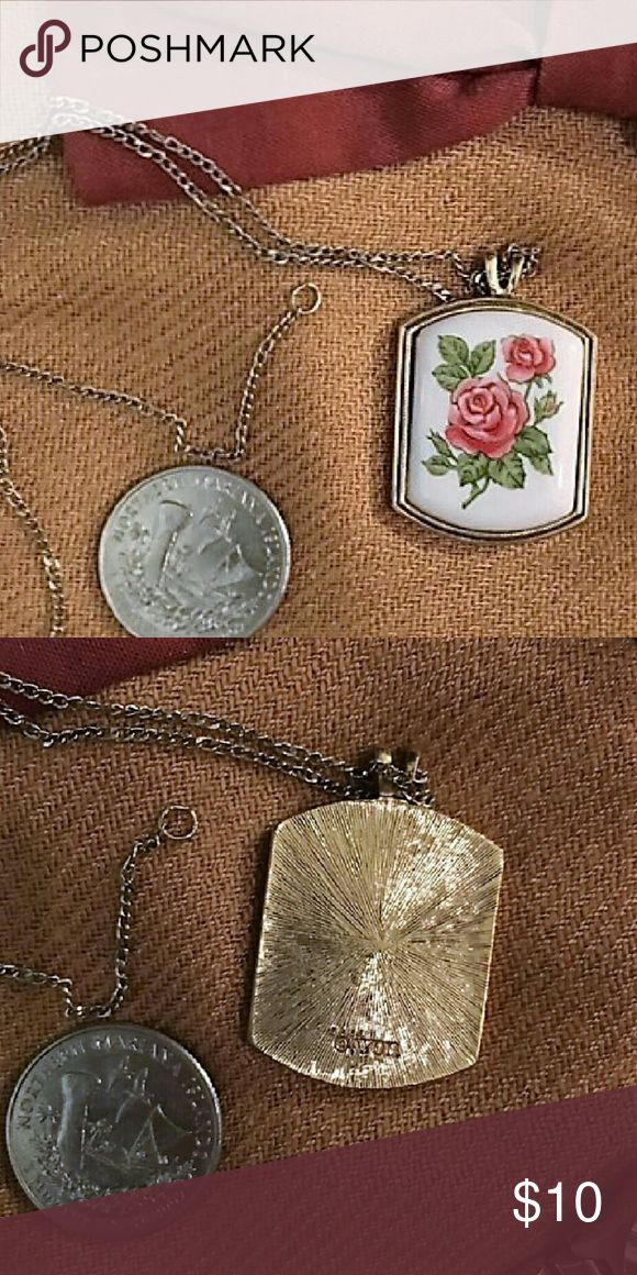 Vintgae Avon rose necklace This is a true vintage necklace from Avon. 22 inches gold tone chain with a porcelain rose pendant on it, June birth flower. It's in great shape w/ little signs of wear. Jewelry Necklaces