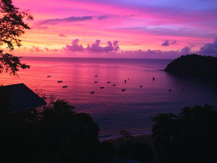 Sunset view from Castara Retreats lodge in Tobago ...